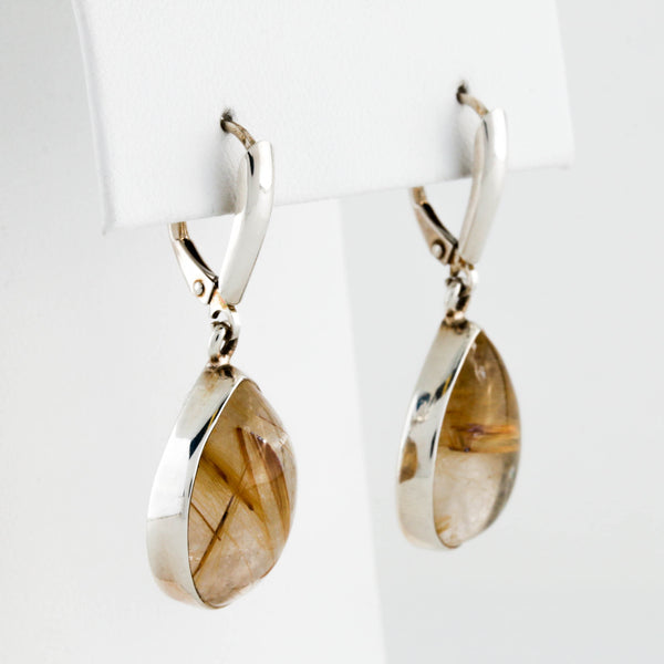 *SOLD* Golden Rutile Quartz in Sterling Silver Earrings - Sindur