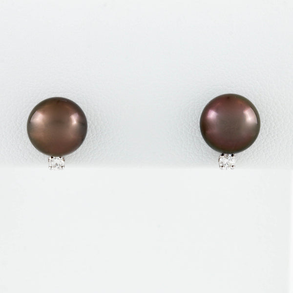 Black Pearl and Diamond Stud Earrings in White Gold
