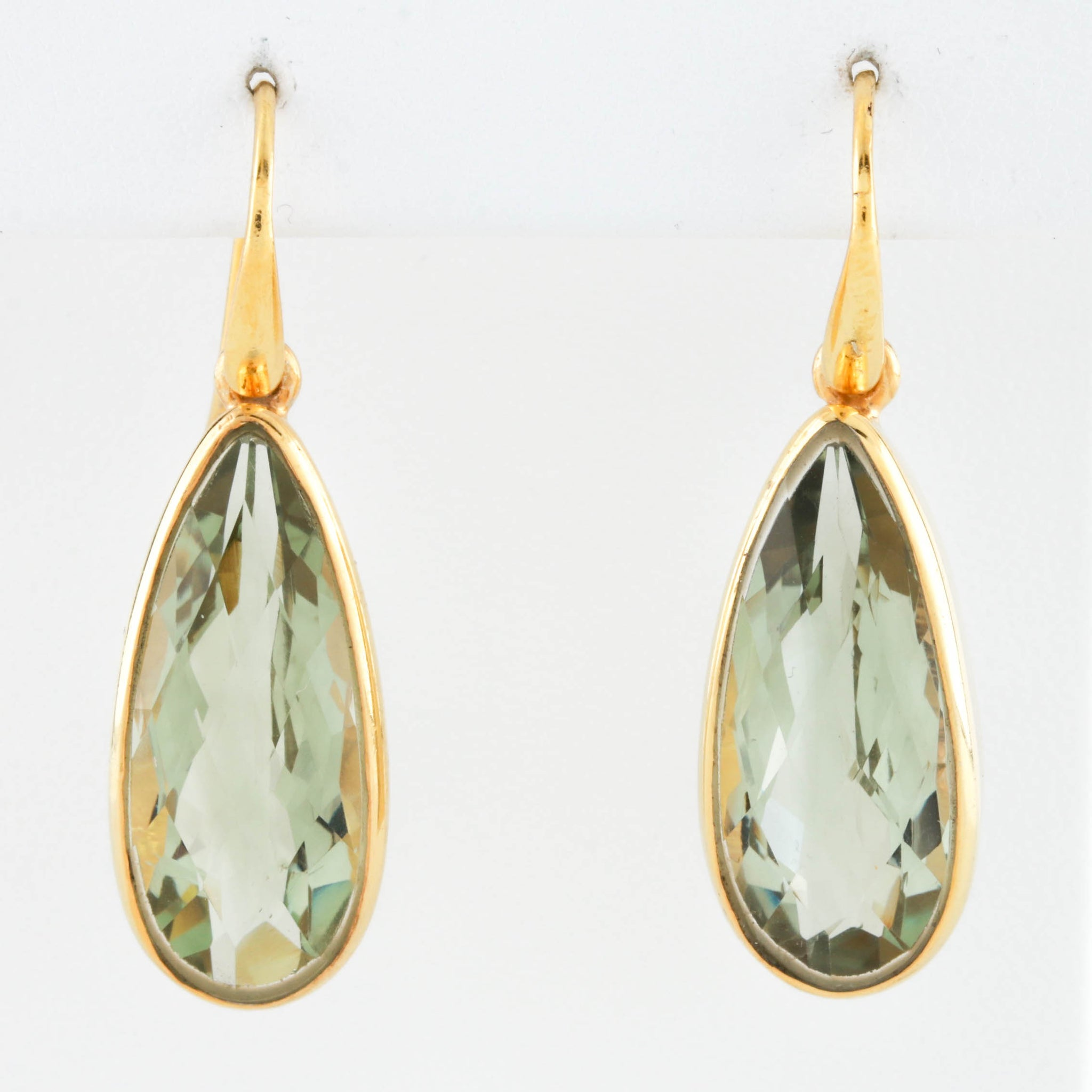*SOLD*Green Quartz in Yellow Gold Dangle Earrings