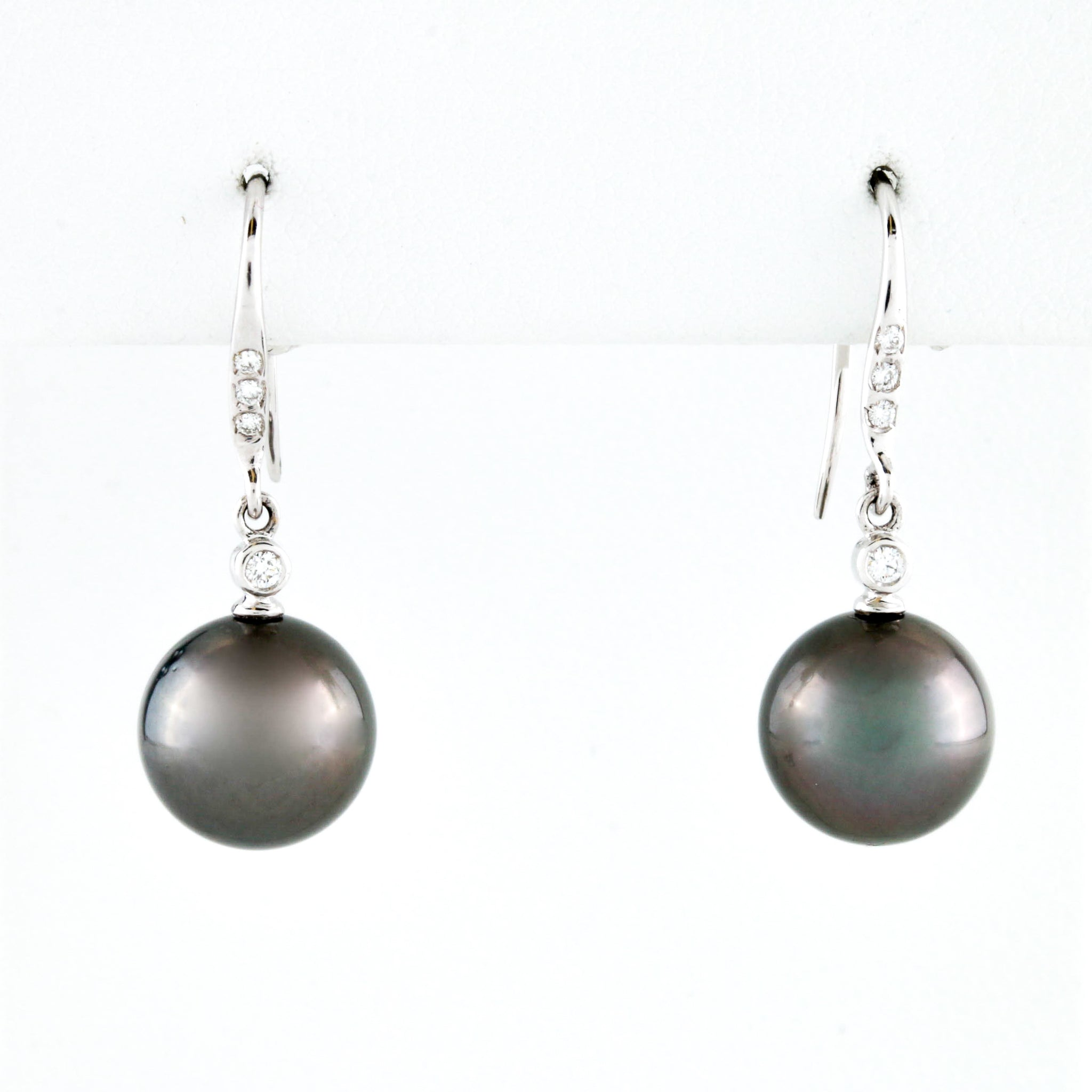 South Sea Pearl Drops with Diamond Accents in White Gold Earrings - Sindur