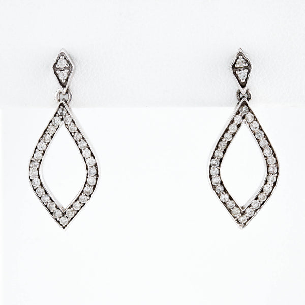 *SOLD* White Gold Marquise Drop Earrings with Diamonds - Sindur