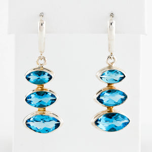 *SOLD* Marquise Blue Topaz Dangles in Sterling Silver Earrings