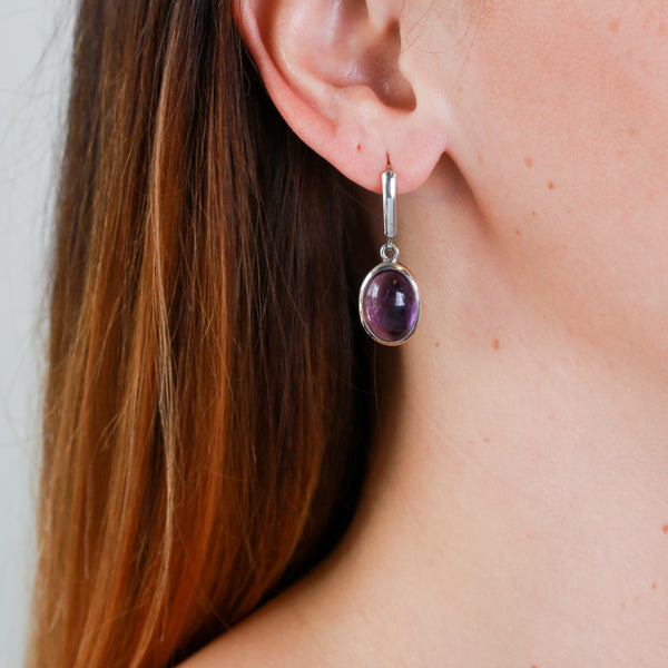 Amethyst Cabochons in Sterling Silver Earrings
