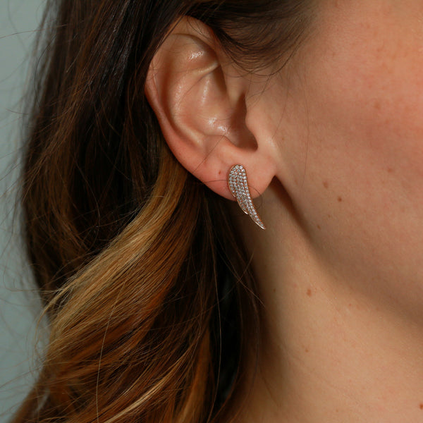 "*SOLD* Rose Gold Diamond ""Wing"" Earrings - Sindur"