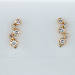 *SOLD* Diamonds Bezel Set in Yellow Gold Crawler Earrings - Sindur