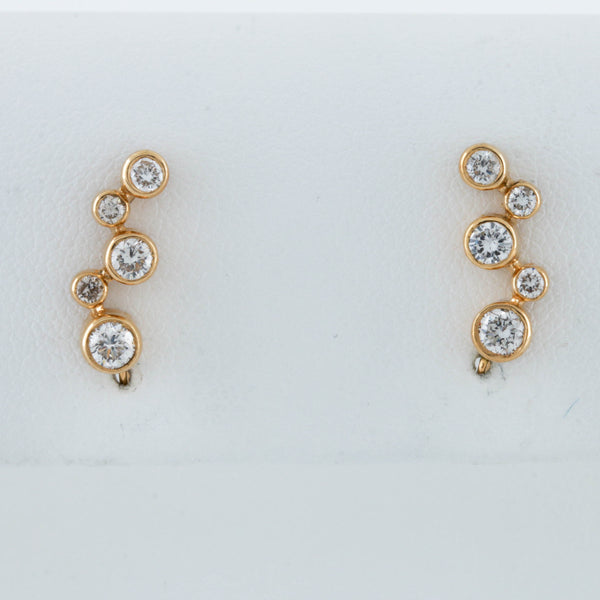 Diamonds Bezel Set in Yellow Gold Crawler Earrings