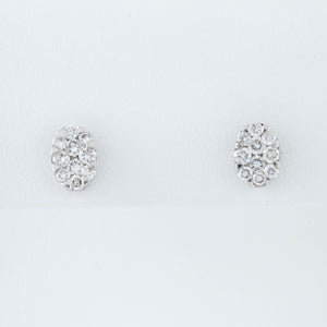 *SOLD* Oval Clusters of Diamonds in White Gold Earrings - Sindur