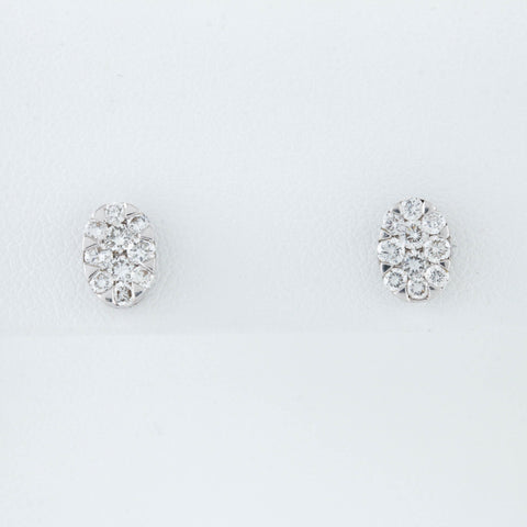 Oval Clusters of Diamonds in White Gold Earrings - Sindur