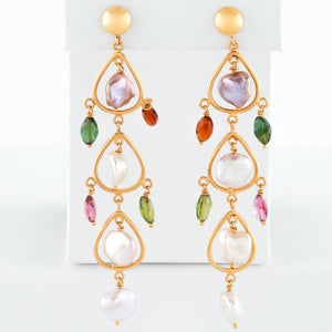 Freshwater Pearl and Colored Stone Drops in Yellow Gold Earrings