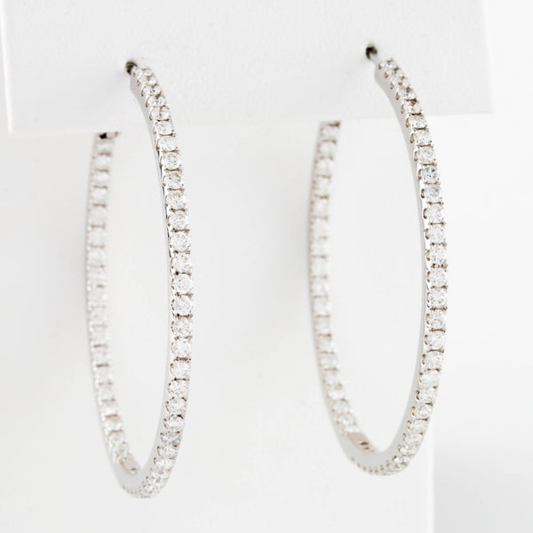 *SOLD* White Gold Diamond Inside Out Hoop Earrings - Sindur