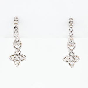 w/g diamond hoops w/ diamond flower drops