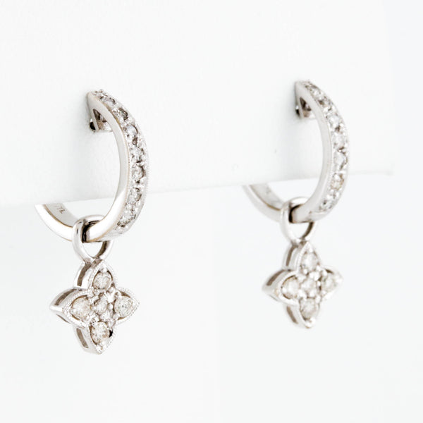 w/g diamond hoops w/ diamond flower drops - Sindur