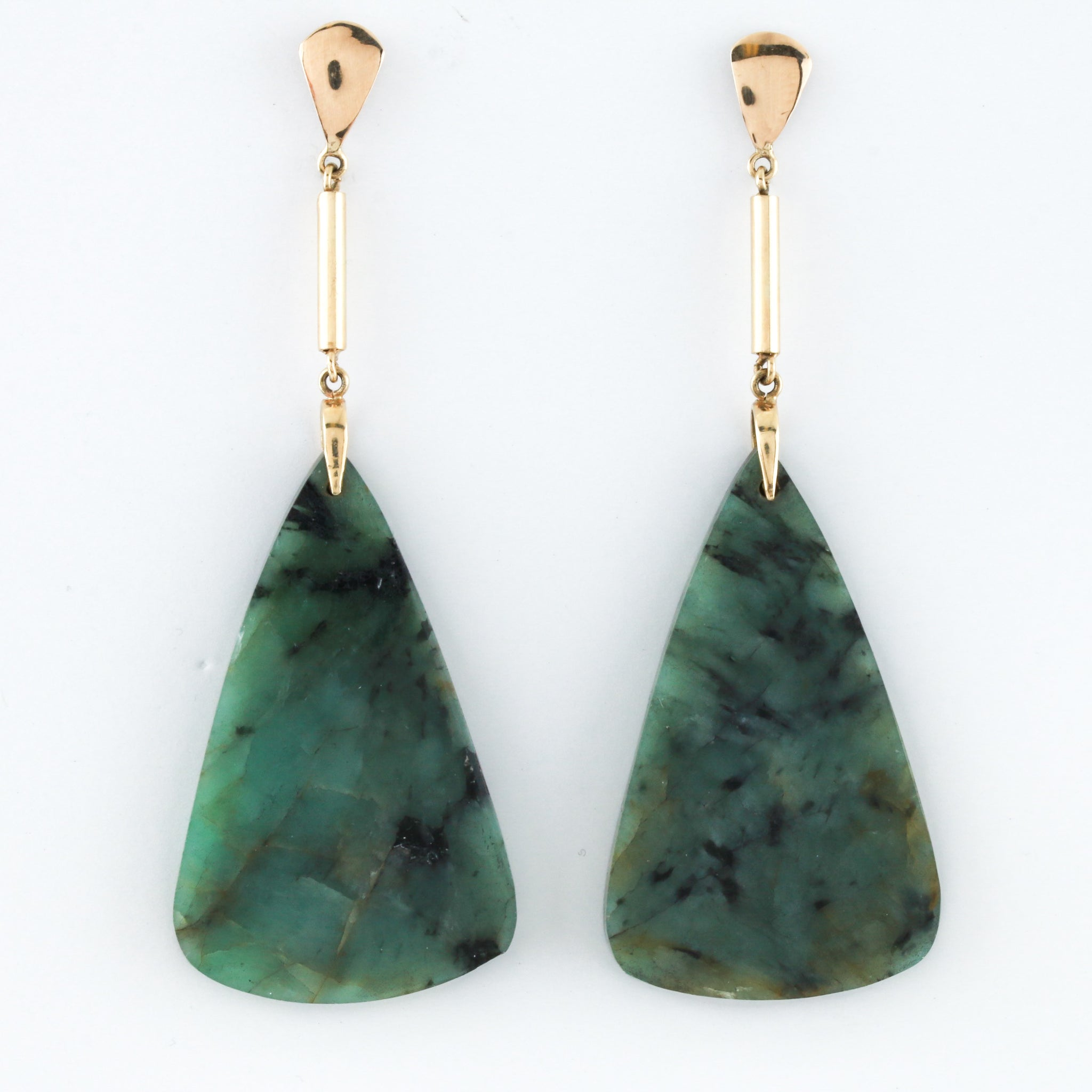 Emerald Slice Earrings with Yellow Gold Mountings