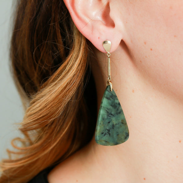SOLD Emerald Slice Earrings with Yellow Gold Mountings - Sindur Style