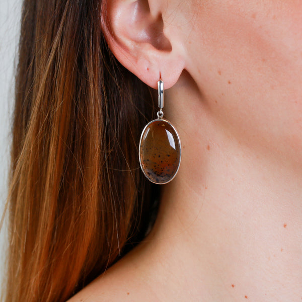 Agate Dangles in Sterling Silver Earrings