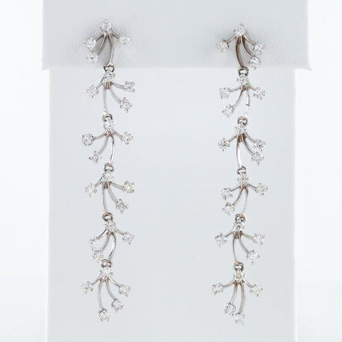 *SOLD* Articulated White Gold and Diamond Earrings