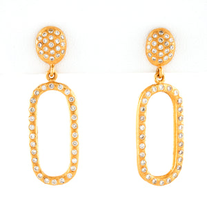 Diamonds in Organic Style 24k Yellow Gold Earrings