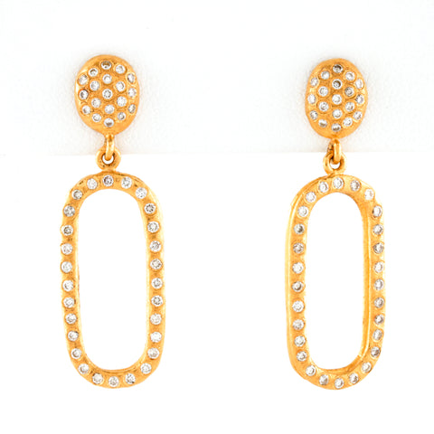 Diamonds in Organic Style 24k Yellow Gold Earrings - Sindur