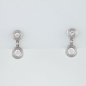 *SOLD* Bezel Diamonds in White Gold Earrings - Sindur
