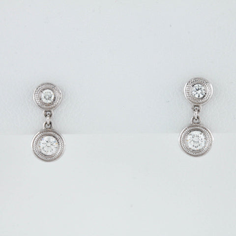 Bezel Diamonds in White Gold Earrings