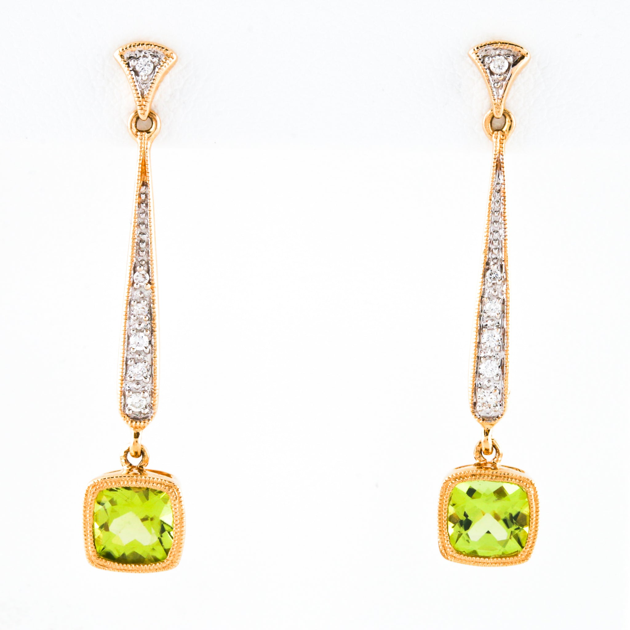 *SOLD* Peridot and Diamonds in Yellow Gold Earrings - Sindur