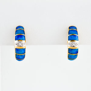 Blue Opal and Diamonds in Yellow Gold Earrings