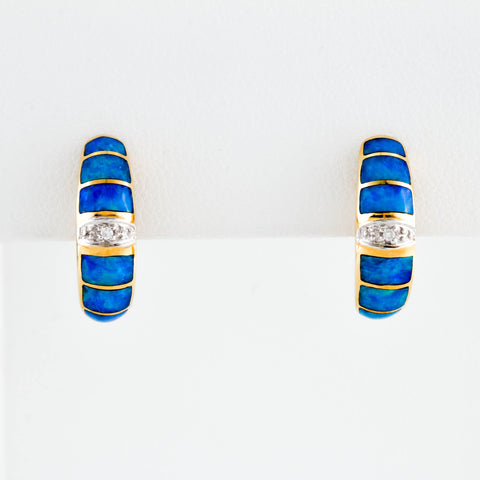 *SOLD* Blue Opal and Diamonds in Yellow Gold Earrings