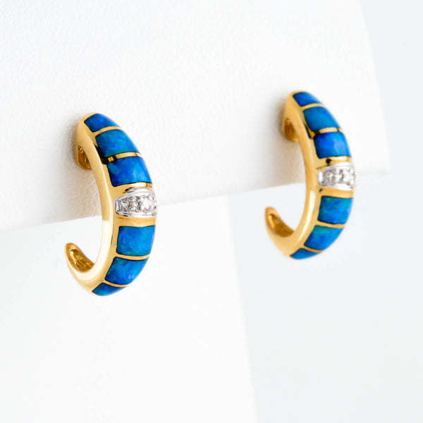 *SOLD* Blue Opal and Diamonds in Yellow Gold Earrings - Sindur