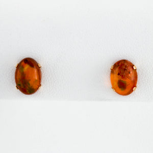 *SOLD* Boulder Opals in Yellow Gold Stud Earrings