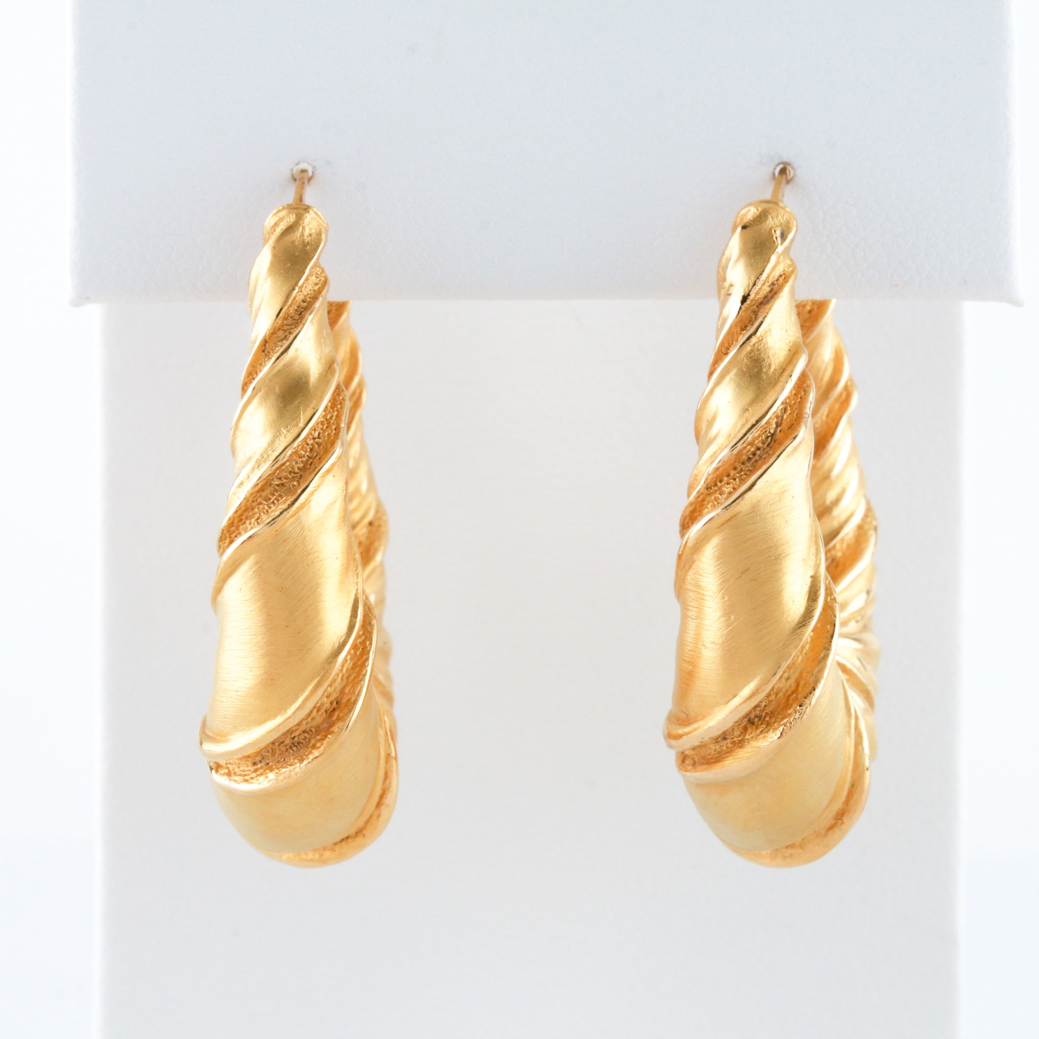 *SOLD* French Satin Finish Gold Hoop Earrings