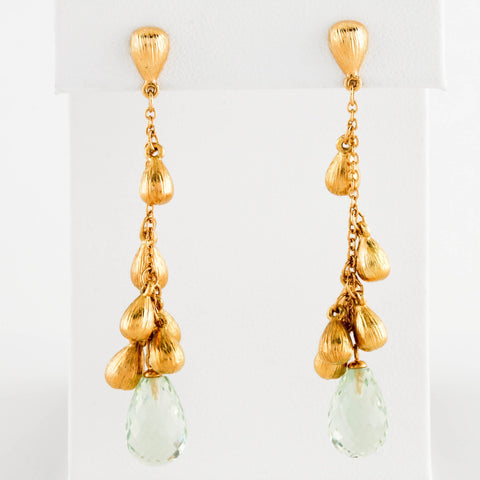 *SOLD* Yellow Gold with Aquamarine Briolette Earrings - Sindur