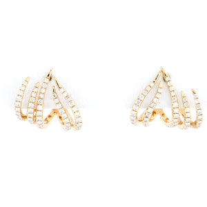 Diamonds in Yelllow Gold Wave Earrings