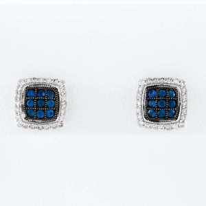 *SOLD* Pavé Set Sapphires and Diamonds in White Gold Earrings - Sindur