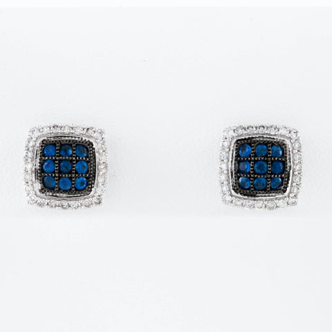 *SOLD* Pavé Set Sapphires and Diamonds in White Gold Earrings