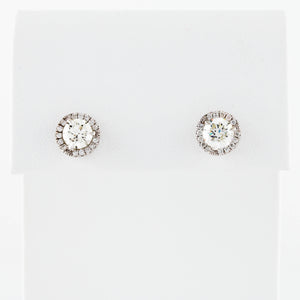 *SOLD* . Diamonds with Halo in White Gold Stud Earrings