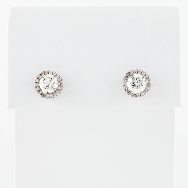 *SOLD* . Diamonds with Halo in White Gold Stud Earrings - Sindur Style