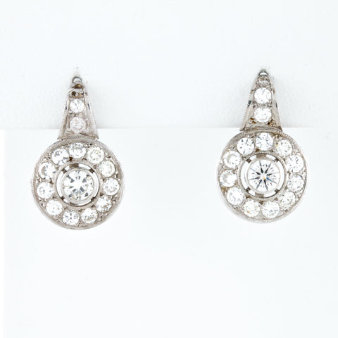 Antique Round Cut Diamond Clusters in White Gold Earrings