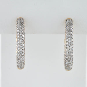 *SOLD* Yellow Gold Hinged Pavé Set Inside Out Diamond Hoop Earrings