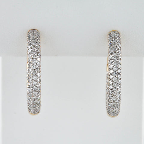 *SOLD* Yellow Gold Hinged Pavé Set Inside Out Diamond Hoop Earrings - Sindur