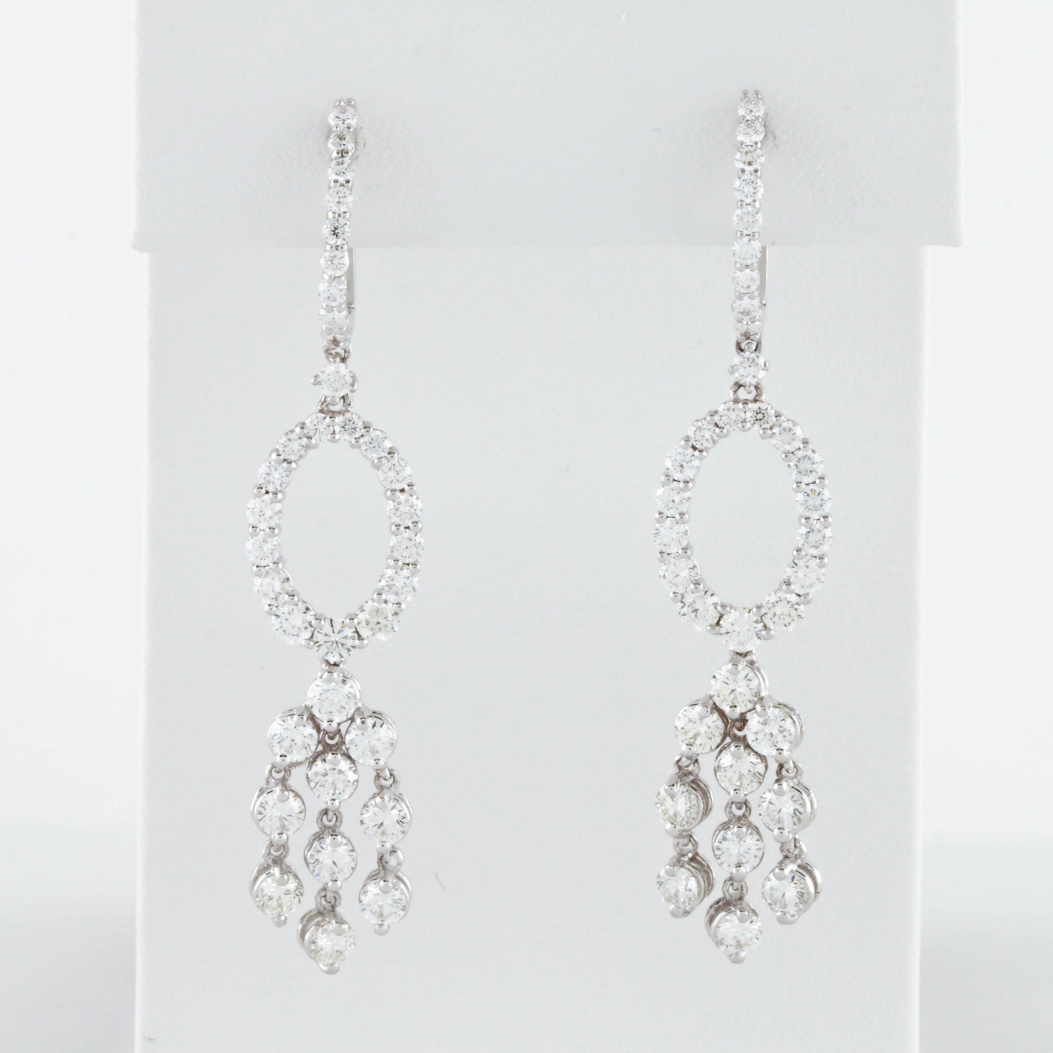 *SOLD* Diamonds in White Gold Oval Dangle Earrings - Sindur