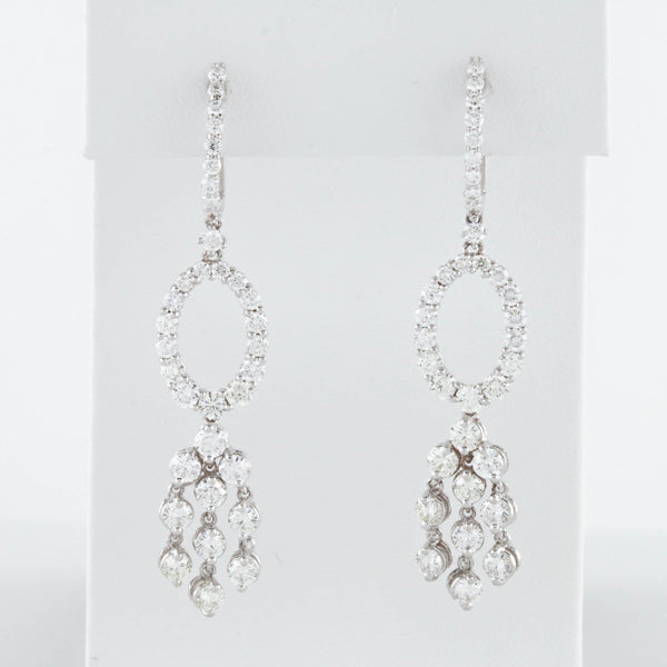 Diamonds in White Gold Oval Dangle Earrings
