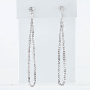 White Gold Diamond Elongated Drop Earrings