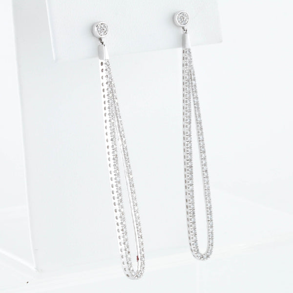 White Gold Diamond Elongated Drop Earrings - Sindur