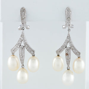 *SOLD* Diamonds and Pearl Drops in White gold Earrings - Sindur