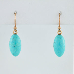 *SOLD* Turquoise Drops on Yellow Gold Earrings - Sindur