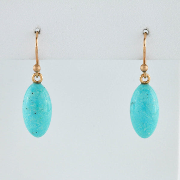Turquoise Drops on Yellow Gold Earrings