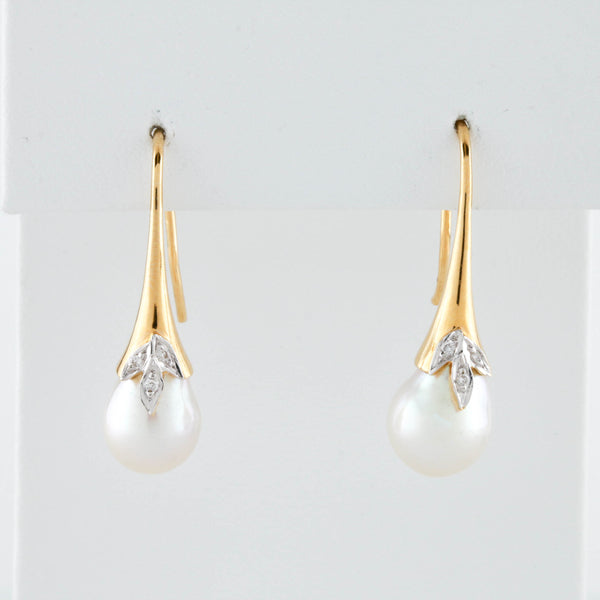 *SOLD* Diamond Leaf and Pearl Drops in Yellow Gold Earrings - Sindur