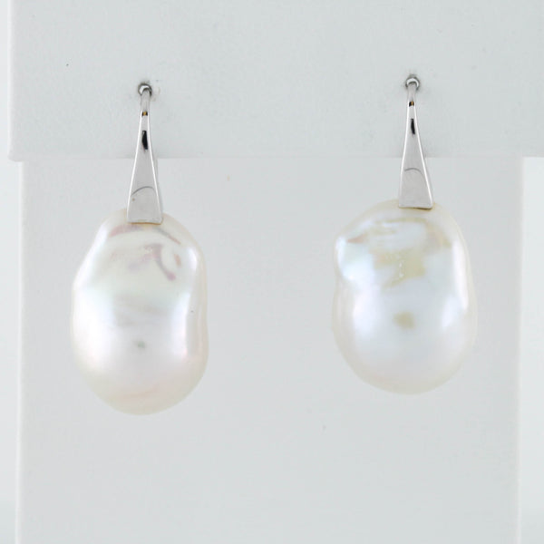 Baroque Pearls in White Gold Earrings