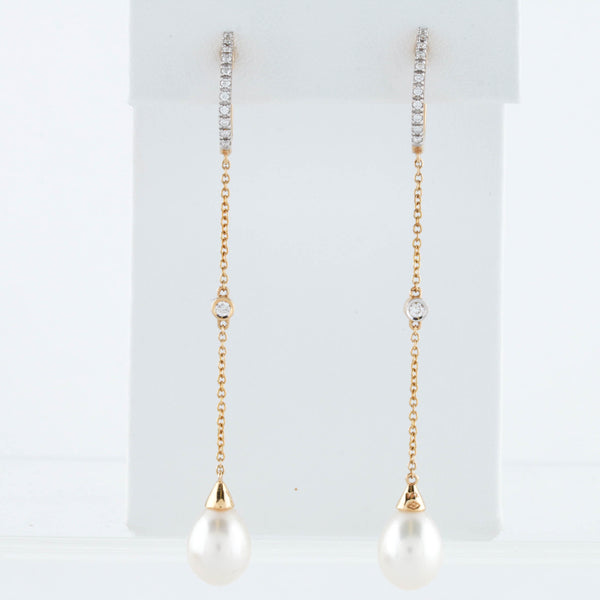 Diamonds in Yellow Gold Earrings with Pearl Drops