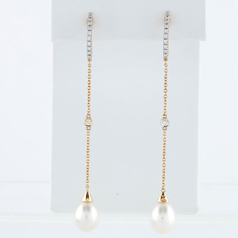*SOLD* Diamonds in Yellow Gold Earrings with Pearl Drops - Sindur